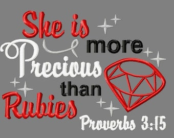 Buy 3 get 1 free! She is more precious than rubies embroidery design, Proverbs 3:15, ruby applique design
