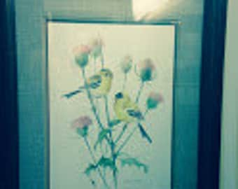 "Carolyn Shores Wright Bird Print, Birds Resting in Blossoms, Custom Framed, Triple Mat, 22"" x 18"""