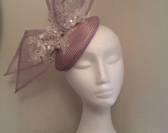 Light lilac pillbox hat fascinator with bow and cream lace ( Violet ) sinamay and straw