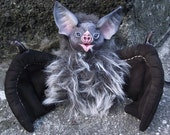 Bat Monster Poseable Art Doll Handmade OOAK Sculpture Plush Creature Vampire