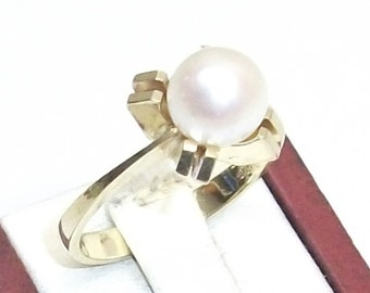 585er gold ring with freshwater pearl 17.6 mm GR101