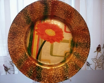Round Glass Decoupage Plate, Floral style Plate, Plate in Decoupage technique, Floral Plate
