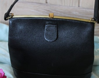 Vintage 1940/50'd Black Leather Handbag