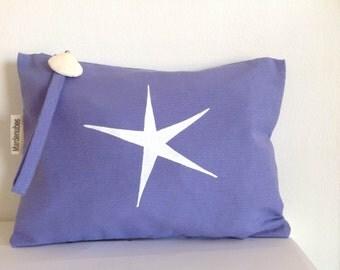 Hand bag  Lilac sailcloth  Clutch  FREE SHIPPING