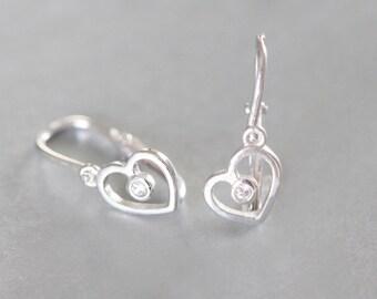 Heart Earrings, Children Diamond Earrings, Solid White Gold Earrings