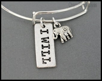 I WILL / Lucky Elephant Bangle - PERSONALIZED and Expandable Inspiration Zen Message Wire Bangle Bracelet - By Renee & Alex - USa - 1289