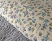 Vintage Blue and Purple Floral Queen Fitted Sheet - Cottage, Shabby, Farmhouse, Flea Market Decor
