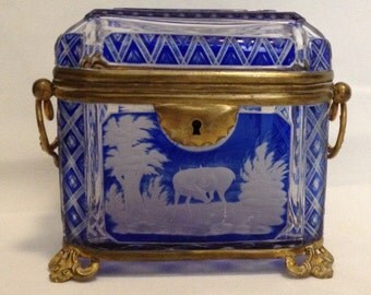 FREE SHIPPING-Antique-19th Century-Cobalt Blue-Cut To Clear-Czech-Bohemian-Handled-Hinged-Brass-Footed-Jewelry/Trinket-Casket/Box