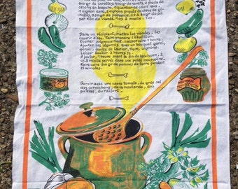 Vintage French Recipe Cloth By Vony 25x18.5 Inches