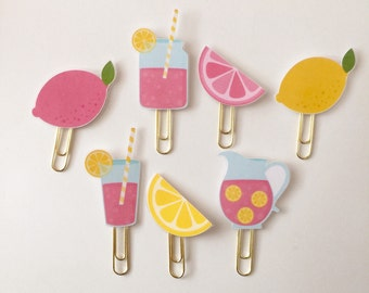 Pink Lemonade Lemon Double Sided Planner Clip - Made to Order