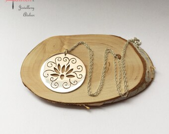Hand pierced Lotus silver pendant with chain