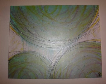 Metallic abstract acrylic canvas  painting