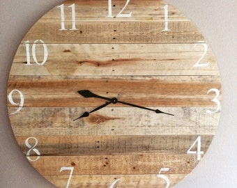 "35"" Pallet Clock Sold . Another custom clock can be made to order similar with the blonder pallet wood."