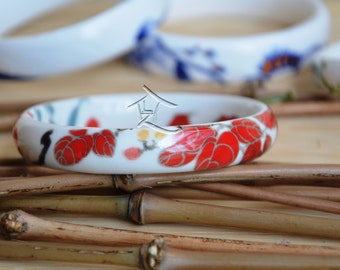 Hand painted ceramic bracelet - red petals