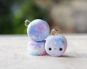 Kawaii Galaxy Macarons - polymer clay charm jewelry