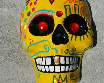 Yellow Dia De Los Muertos, Day Of The Dead Sugar Skull, Calavera