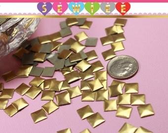 144pcs 8mm Gold Pyramid Hotfix Square Hotfix Gold Square Stud Iron On Hot Fix Glue On FlatBack Pyramid Studs DIY Fashion Embellishment V100