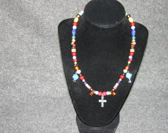 Beaded necklace with Cross Pendant