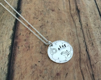 Bird Singing Necklace, Hand Stamped, Sterling Silver Bird Necklace