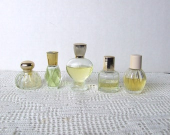 Collection of Five Vintage Mini Avon Cologne Bottles