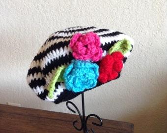 Ladies crocheted hat, girls knit hat, winter hat, beret, slouchy hat, G