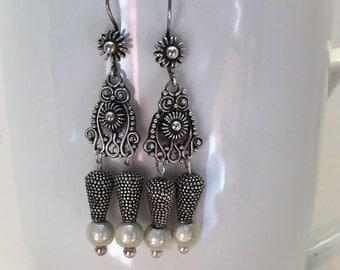 Sterling Silver Owl Dangle Earrings
