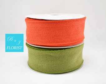"2.5"" Fall Burlap Wired Ribbon - Fall Colors - Orange,Green, Natural Brown - Wrapping Packaging DIY Wreath Bow Supplies"