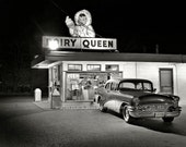 Vintage DAIRY QUEEN (1970s) - Ice Cream Shop & Classic Buick - Reprint Photograph avail in size 8x10 - 11x14 - 16x20 Car Photo Picture Print
