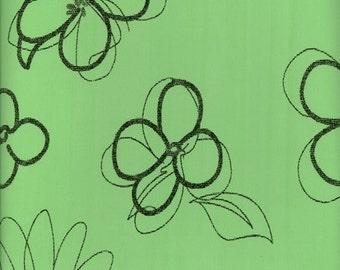 Oilcloth tablecloths fabric floral design Scandinavian Mint Black 29-3324
