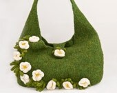 knit felted bag - Irish moss floral