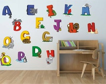 1052 Best Kids Wall Decal Alphabet Cartoon Letters for Childrens' Room, Back to School sticker, A to Z Cartoon Letters,ABC's, A-Z Alphabet