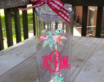 Set of TWO Palm Tree Monogrammed Thermal Tumblers - 20 ounce  ~ choose your pattern, choose your style!!