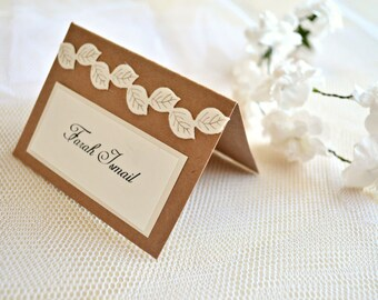 Leaves wedding place cards, rustic place cards, wedding place cards, fall place cards, leaf place cards, wedding placement cards