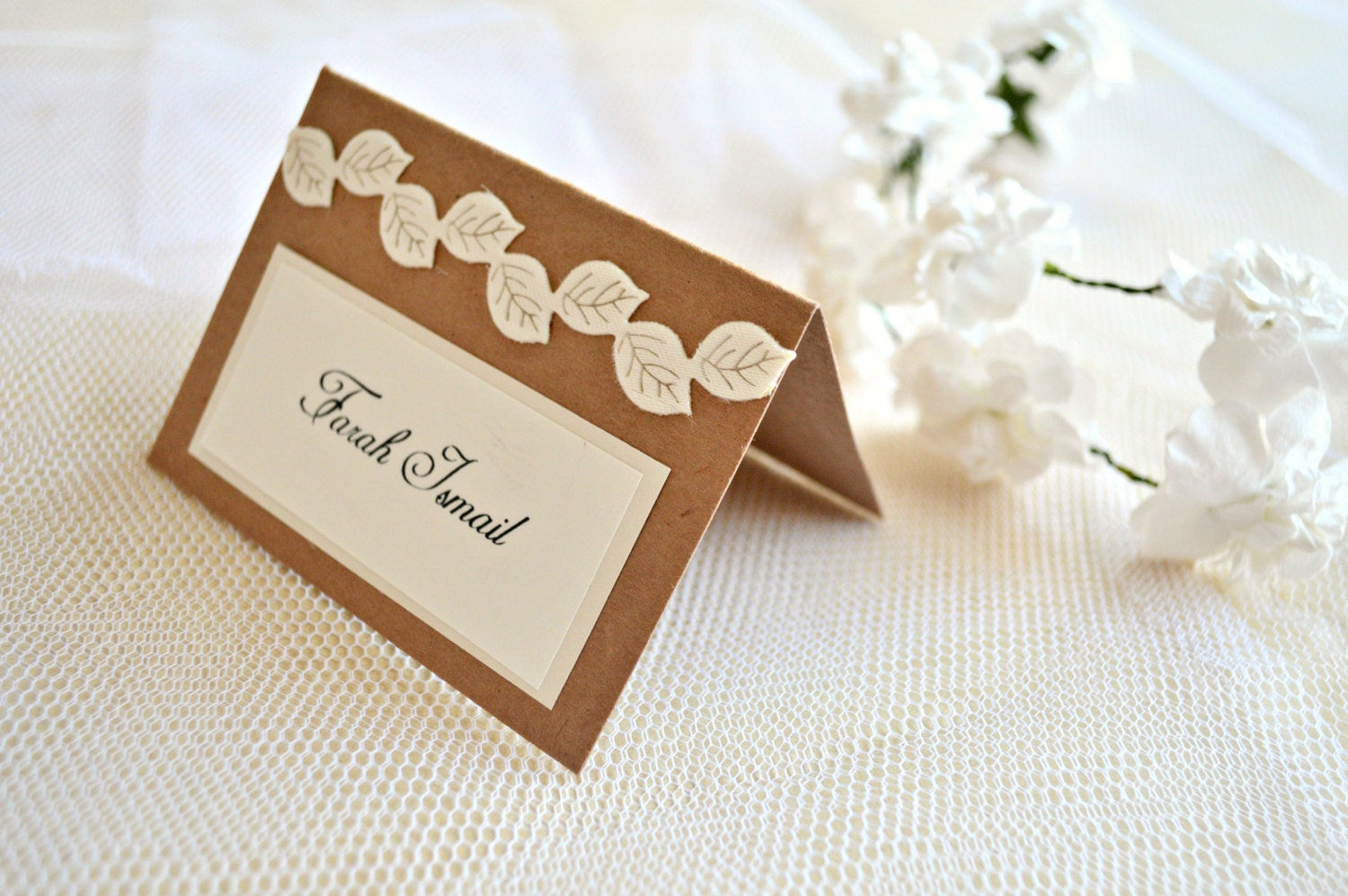 Leaves wedding place cards rustic place cards wedding place for Place cards for wedding