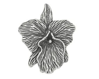 Handmade Bali Oxidized 925 Sterling Silver Orchid Flower Motif Charm Pendant or Earring Drops, Handmade Findings - 1 pc.
