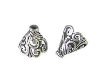 Handmade Oxidized 925 Sterling Silver Bali Cap Large Cone Filigree - 2pcs.