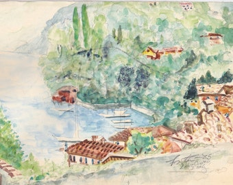 Watercolor lake cuomo signed and dated.