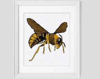 Counted cross stitch pattern, bee cross stitch pattern, counted cross stitch pdf pattern, bee cross stitch