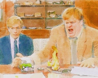 Tommy Boy, watercolor, funny, painting. David Spade and Chris Farley