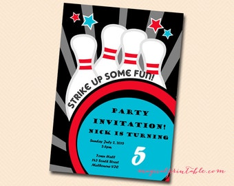 Custom Invite, Bowling Party invitation, Personalized Invite, Bowling Birthday Invitation, Bowling Invitations IV29