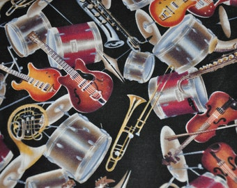 One Yard of Musical Instruments, Drums, Guitar, Violin Trumpet 100% Cotton Quilt Fabric by David Textiles