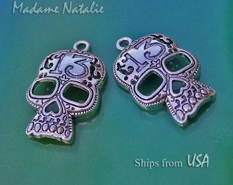 Skull Pendants(2), Tibetan Silver Skull Necklace Pendant, Big Skull Charm, Halloween Pendant, Halloween Necklace Findings. Number 13 Skull