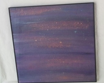 "Starry Skies - 12"" x 12"" Black Framed Acrylic Painting"