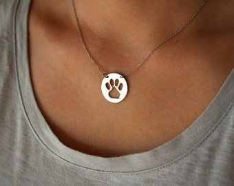 Disk Paw Print Necklace / Delicate Circle Paw Necklace / Silver, Gold Plated or Rose Plated.
