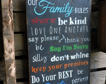 Our Family Rules.  Distressed Rustic Wood Sign.