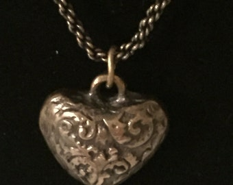 Rustic Necklace, Vintage Inspired, Antique Bronze, Heart,