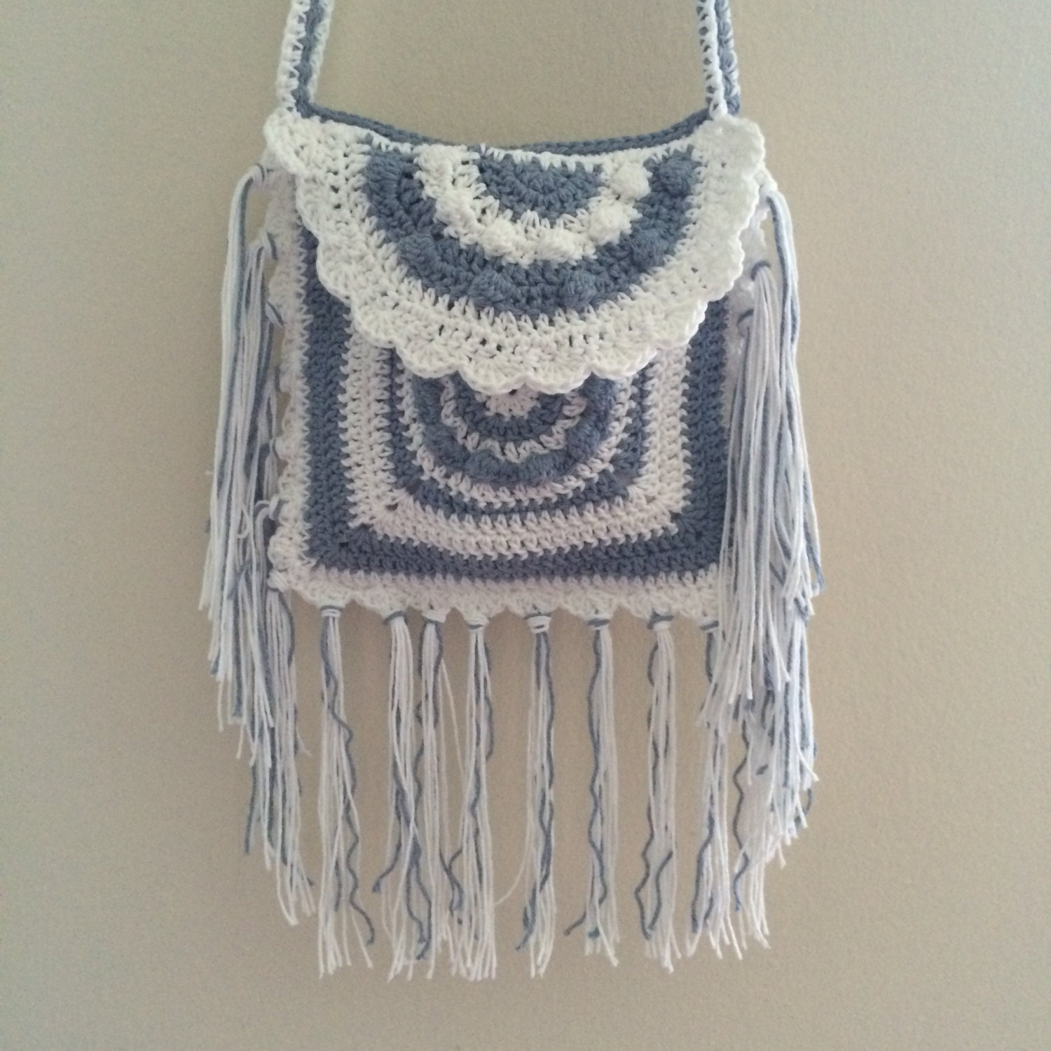 Crochet crossbody bag Fringe purse Boho bag Hippie tote by TemiM