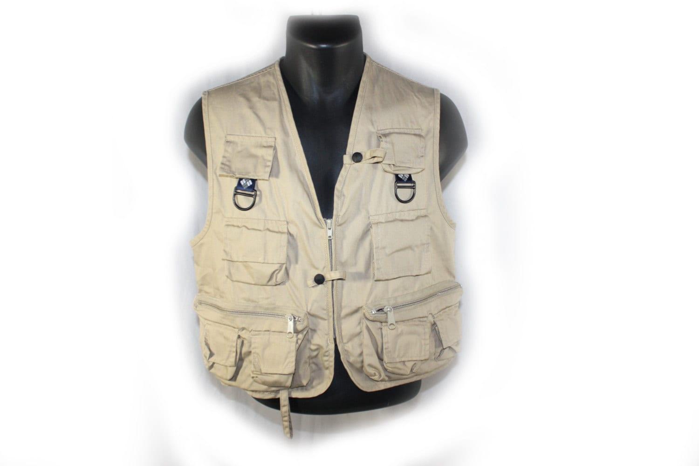 Vintage mens vest fishing jacket columbia khaki by for Mens fishing vest