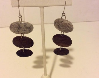 Grey and brown wooden long oval earrings