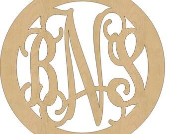 Unfinished Wooden Monogram, Circle Border Design Vine Script Font Wood Monogram All Sizes 06.8